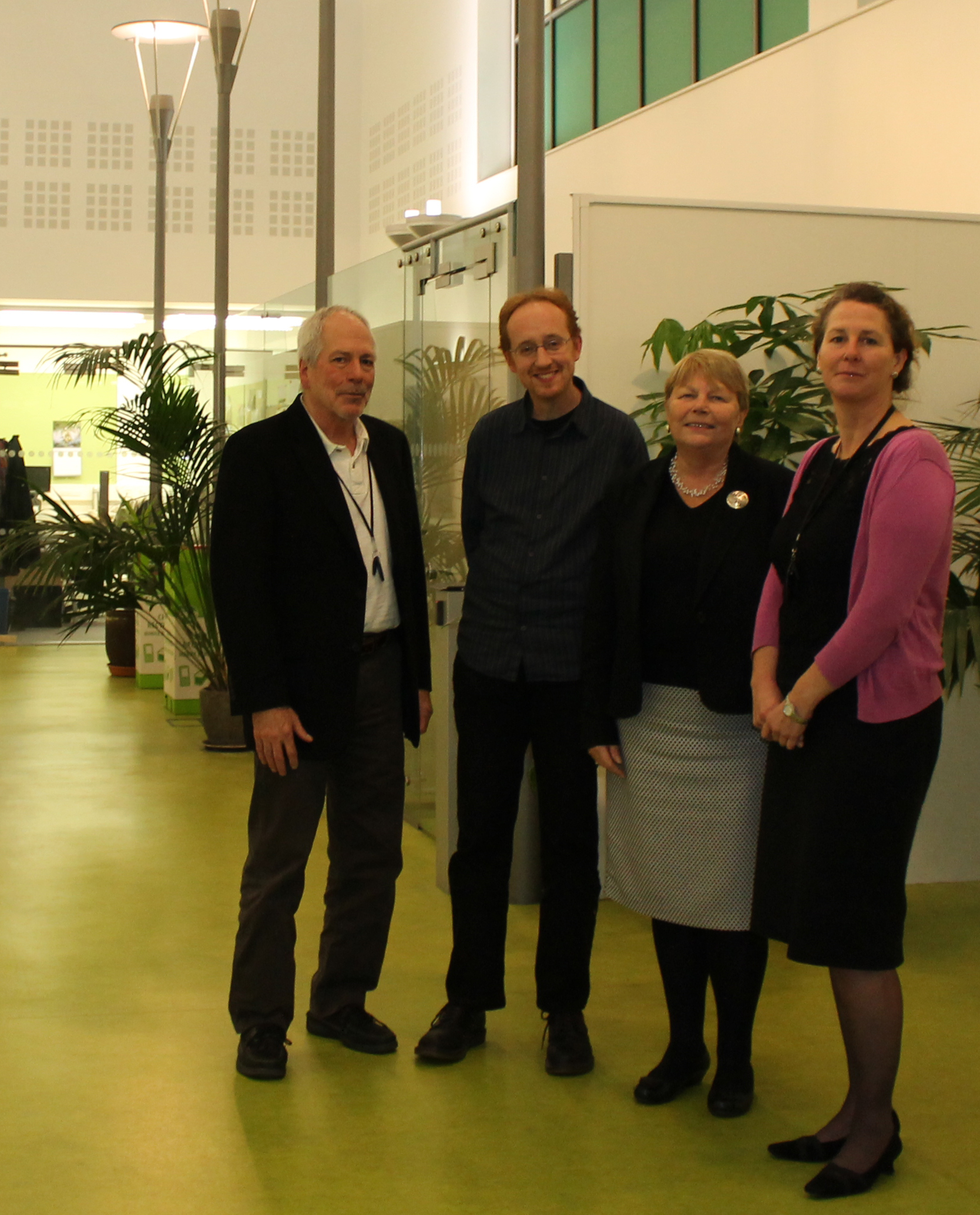 Baroness Randerson (2nd right) with CEH Head of Site at Bangor, Prof Bridget Emmett (right), and CEH senior scientists Drs Jack Cosby and Chris Evans