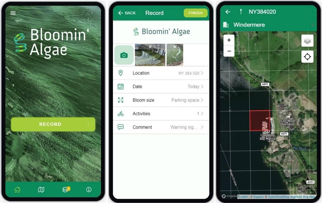Bloomin' algae app screenshots