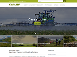 Screen grab from the homepage of the Catchment Management Modelling Platform