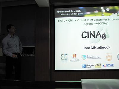 Presentation slide showing CINAg project details