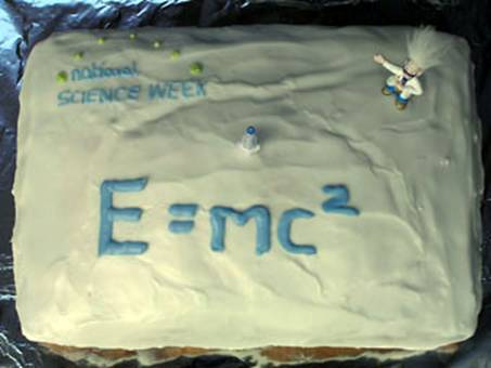E=mc2 cake served at the Cafe Scientifique