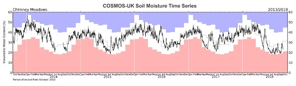 A complete five-year soil moisture time series (2013-18) for the COSMOS-UK site at Chimney Meadows