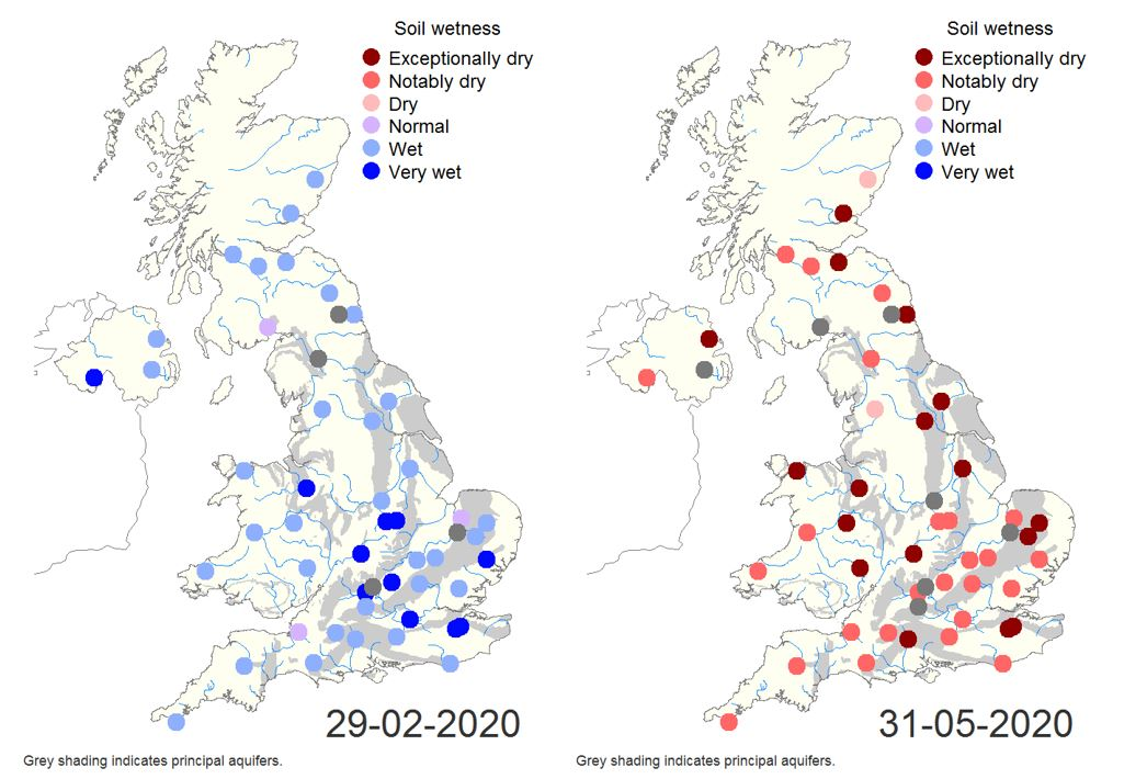 Two maps showing UK soil wetness in February and May 2020