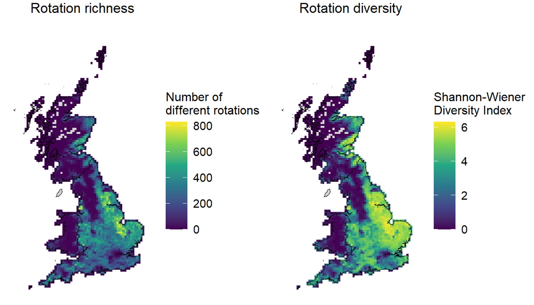 Maps showing crop rotation richness and diversity