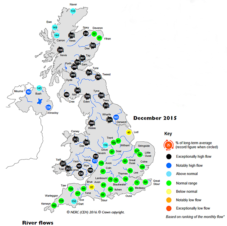 Map showing December 2015 river flows in the UK