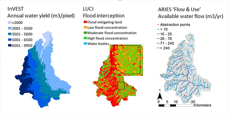 Maps of Conwy Catchment showing different model outputs for InVEST, LUCI and ARIES