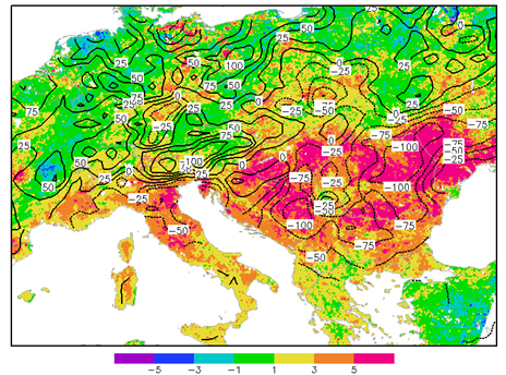 Map of Europe showing lagged Land Surface Temperature response to rainfall during summer 2012