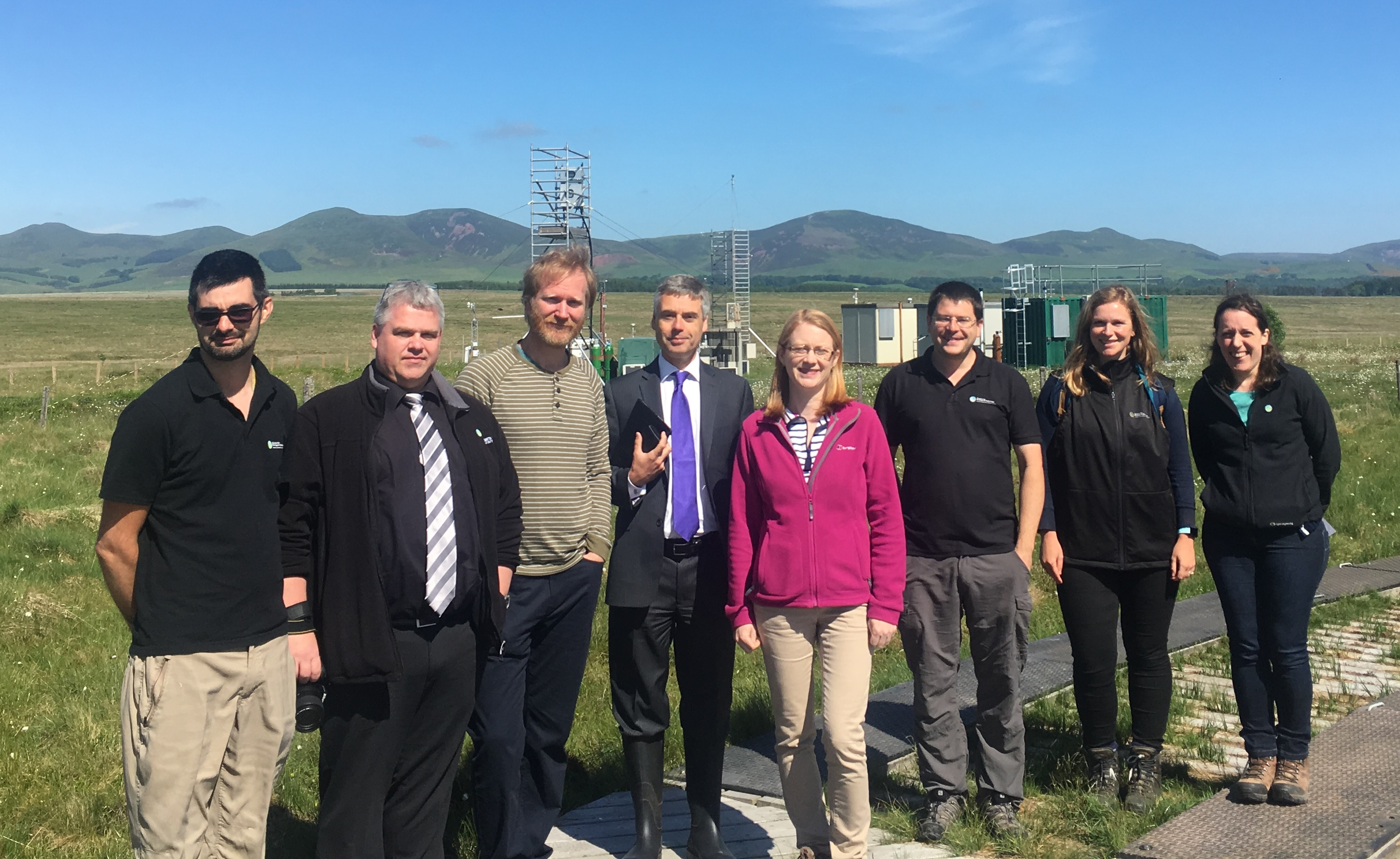 Scottish science minister Shirley-Anne Somerville at Auchencorth Moss with CEH scientists