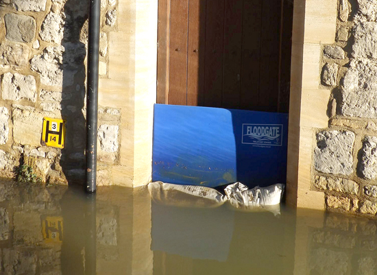 sand bags in the entrance of a house