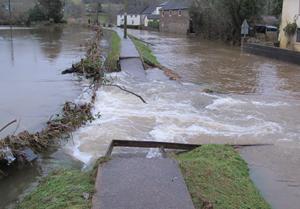 December 2012 flooding and damage, Exbridge, Devon. Photo: Heather Lowther
