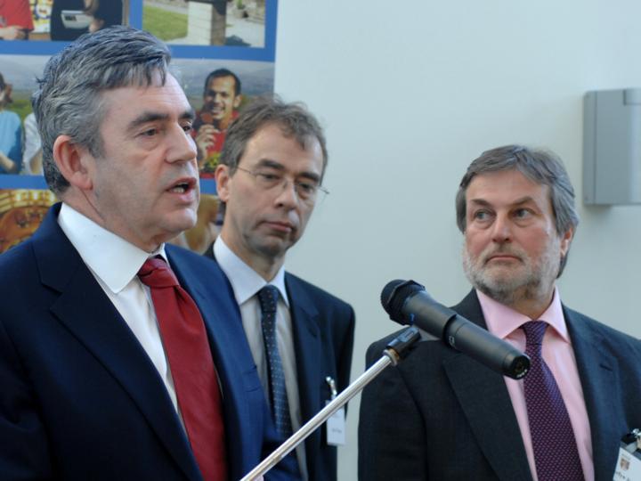 Gordon Brown giving a speech at the Environment Centre Wales