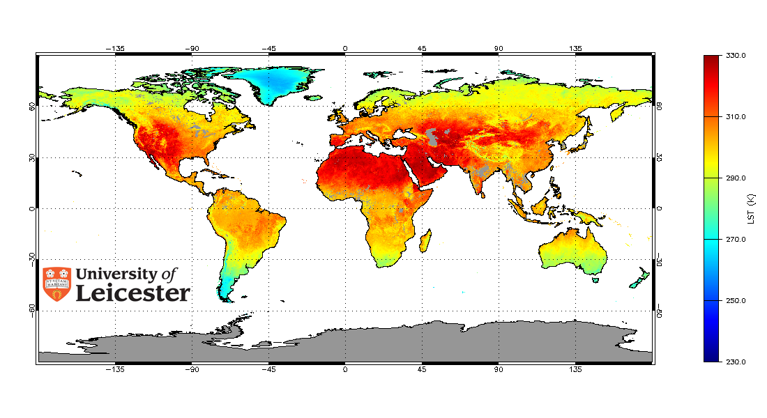 July 2006 monthly averaged Land Surface Temperature