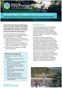 Cover of leaflet on CEH's international hydrometeorological services