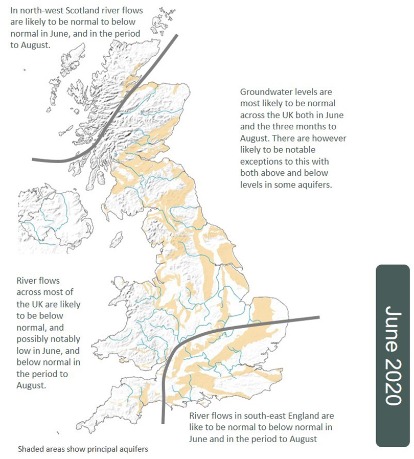 Map showing June 2020 hydrological outlook in the UK