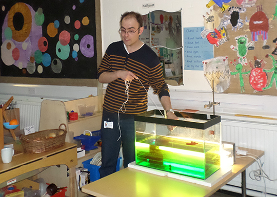 Dr Stephen Thackeray demonstrates the lake in a tank