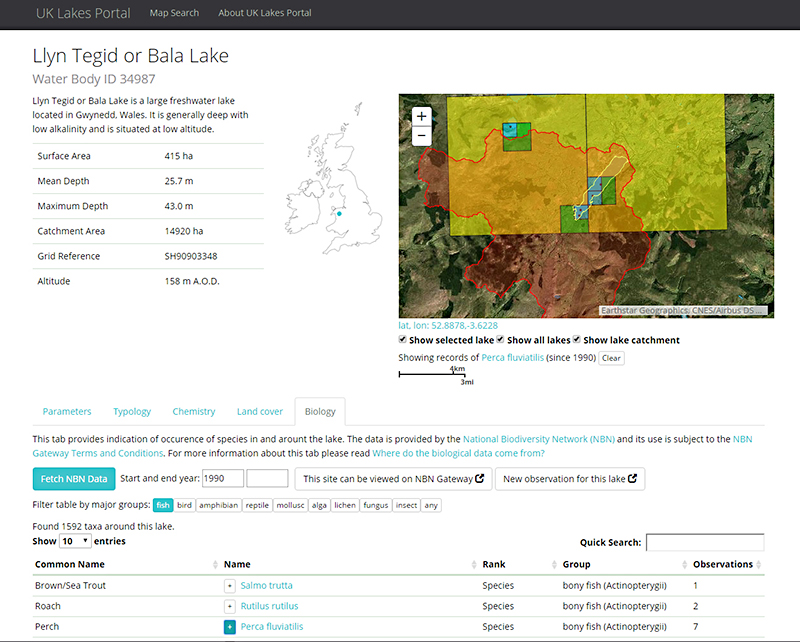 Screenshot from UK Lakes Portal showing information on Llyn Tegid or Bala Lake