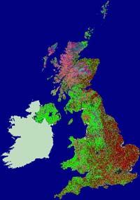 LCM2000 shows different habitat types across the UK