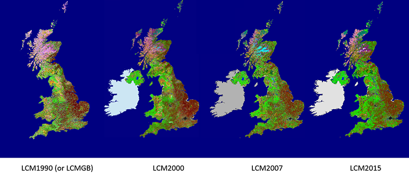 Four images showing different UK Land Cover Map versions