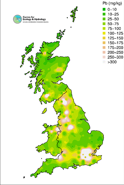 Lead concentrations in topsoil in Countryside Survey 2007