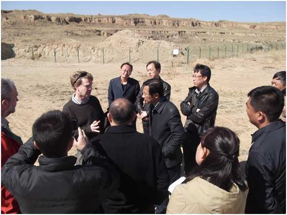 Figure 4: Prof Stephen Maberly discussing the importance of the facility with Dr Zengguang Zhang of the Datong City Water Supply and Drainage Group Ltd,  and other stakeholders.