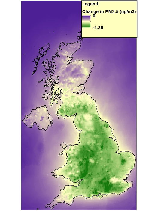 Map of estimated reduction in levels of PM2.5 due to UK vegetation in 2015