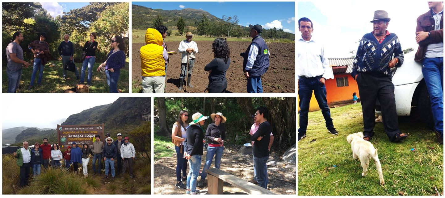 Collage of groups of people outside in different areas of Boyaca, Colombia
