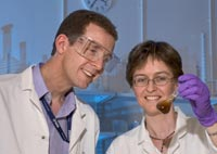 Stephen King and Helen Jarvie preparing natural aquatic nanoparticles