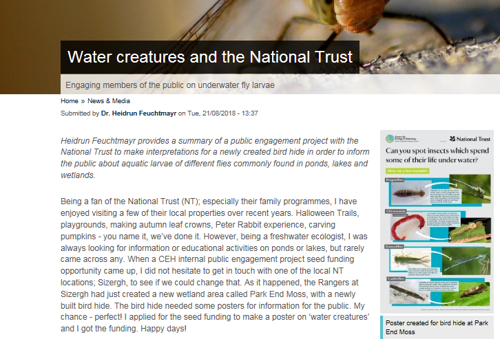 Screengrab of webpage called Water creatures and the National Trust