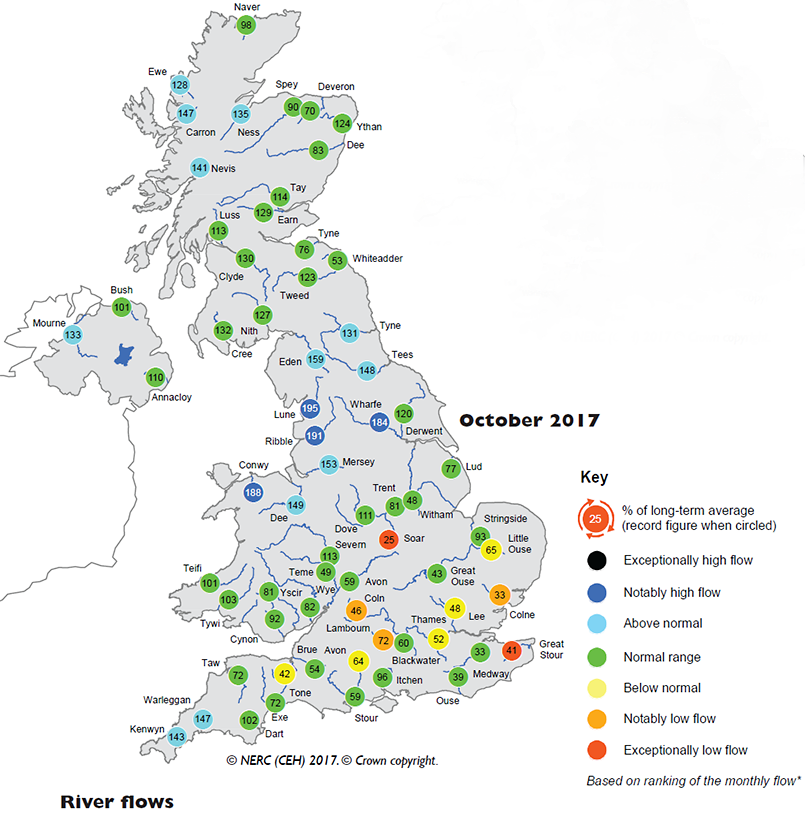 Map indicating river flows from October 2017 UK hydrological summary