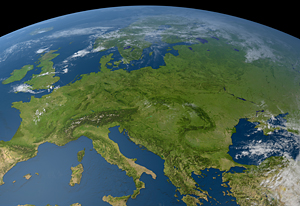 Globe, with a focus on Europe