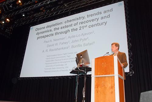 Paul A. Newman of NASA giving a presentation