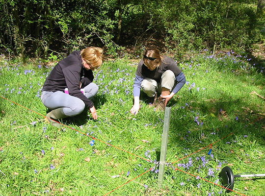 Two surveyors recording vegetation during Countryside Survey