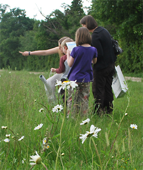 Family taking part in the first national farm pollinator survey in June 2012. Photo: Barnaby Smith