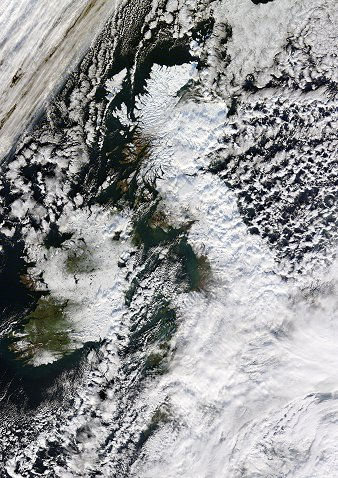 The UK under snow, Early December Source Dundee Satellite Receiving Station (c) NERC