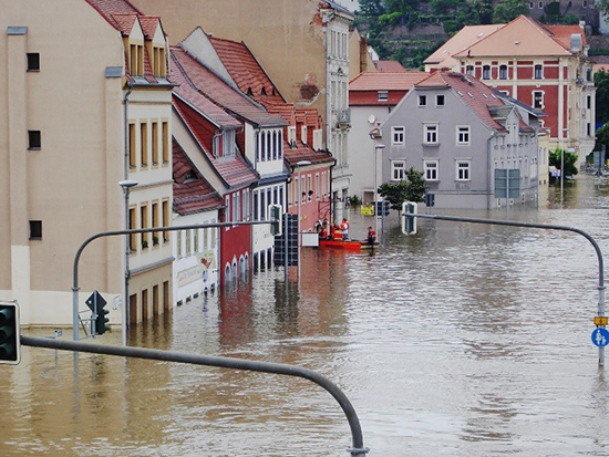 The river Elbe floods Meissen, Germany in 2013