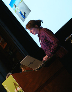 Rosie Hails presenting at the Life Support Systems symposium