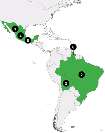 Map of Central and South America with markers where ROBIN partners are