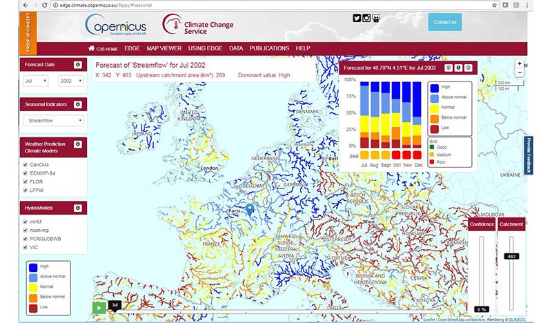 Screengrab from the EDgE Seasonal Forecast Map Viewer