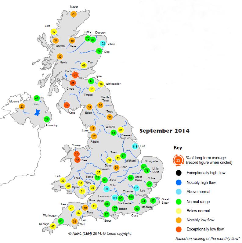 Map of rainfall in UK for September 2014