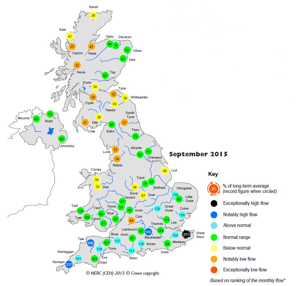 September 2015 river flows in the UK