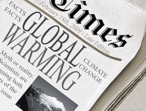 Newspaper with global warming headline