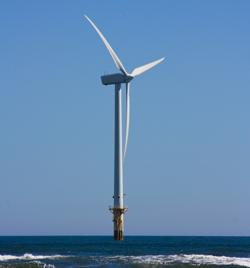 Wind turbine in a wind farm off eastern UK