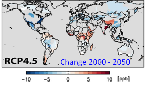 Simulated changes in surface ozone concentration  between 2000 and 2050 as a result of climate and emission changes for RCP4.5