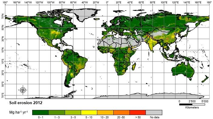 Graphic with key showing global spatial pattern of soil erosion in 2012