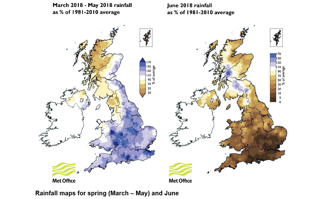 Maps showing rainfall in the UK in spring 2018 (March - May) and June 2018