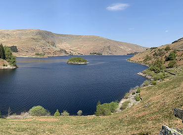 Reduced water levels at Haweswater reservoir