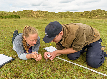 Two people surveying a patch of grassland