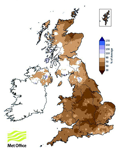 UK map showing percentage of long-term average rainfall for summer 2018 (June-August)