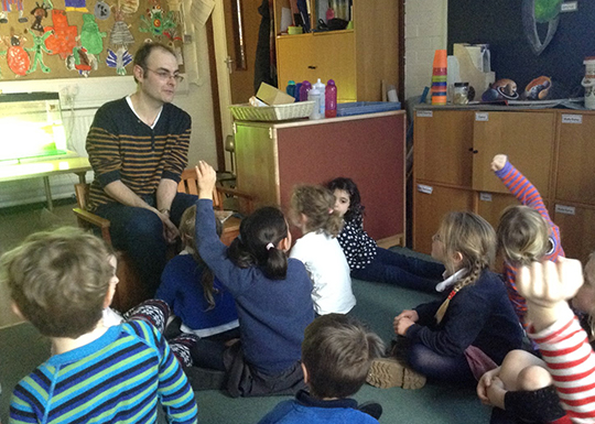Dr Stephen Thackeray answers questions from pupils of Quernmore Primary School