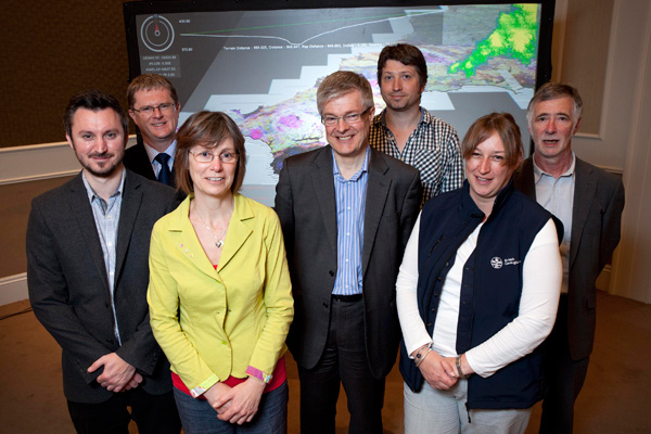 Pictured at the project launch on 20 May 2014 L-R: Dr Stephen Grebby, British Geological Survey; Dr Gwyn Rees, Centre for Ecology & Hydrology; Dr France Gerard, Centre for Ecology & Hydrology; Dr Andrew Howard, British Geological Survey; Dr Rob Griffiths,